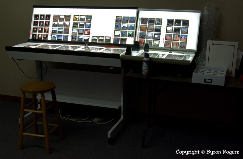 Four professional light tables with 12 feet of viewing space