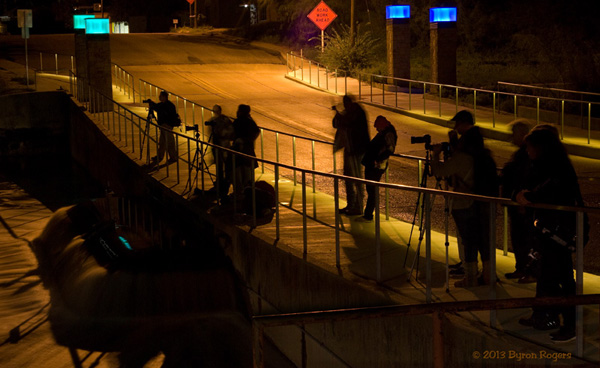 Photographers on the low water bridge in San Angelo during the night time Worldwide Photo Walk in 2013.