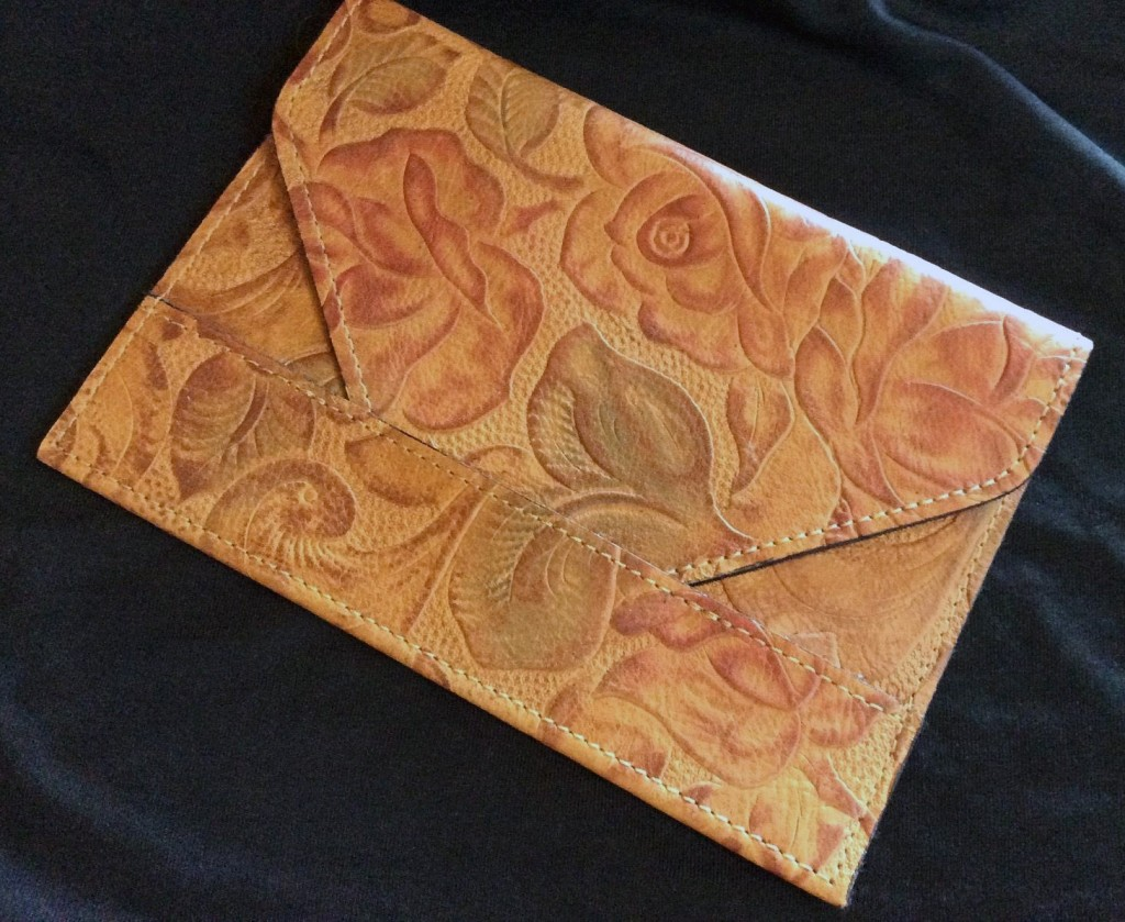 embossed floral leather envelope